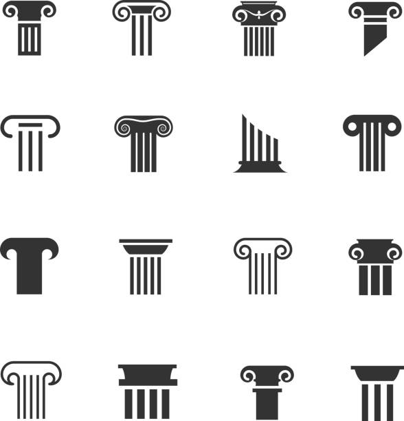 Ancient greek and roman column icons. Architectural pillar vector black white signs vector art illustration