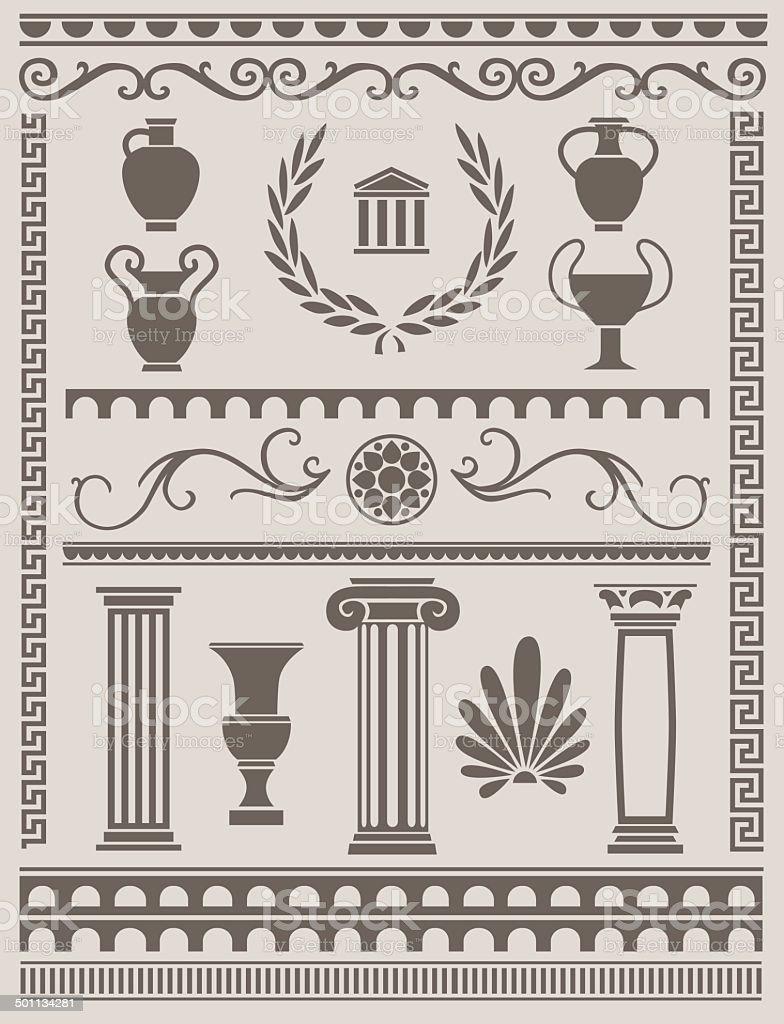 Ancient Greek and Roman Design Elements vector art illustration