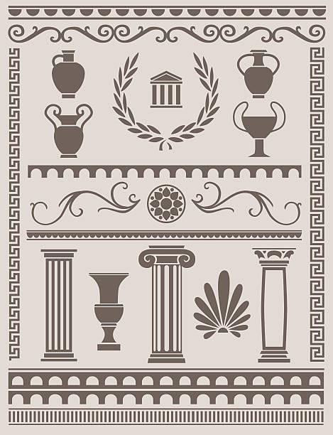 illustrations, cliparts, dessins animés et icônes de grecs et romains antiques éléments de design - rome
