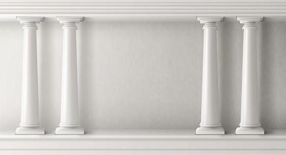 Ancient greek architecture with white pillars