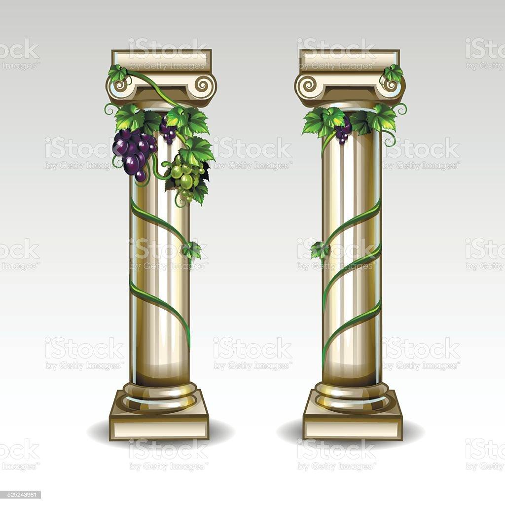 Ancient Greek columns vector art illustration