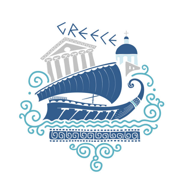Ancient Greek Culture Illustration Vector hand-drawn illustration on Greek culture with ancient ship, architecture and traditional Greek ornament. classical greek stock illustrations