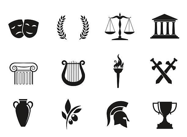 Ancient, greek culture. vector art illustration
