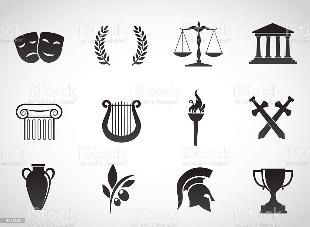 Ancient, greek culture. vector art illustration