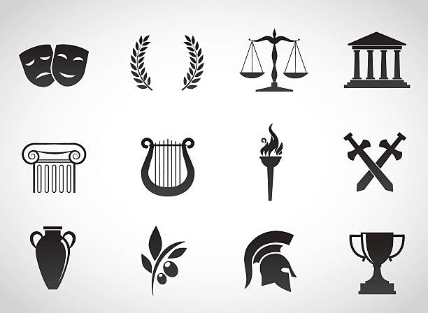Ancient, greek culture. Vector icon set. ancient stock illustrations
