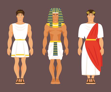 Ancient Greek, Egyptian and Roman. Vector illustration