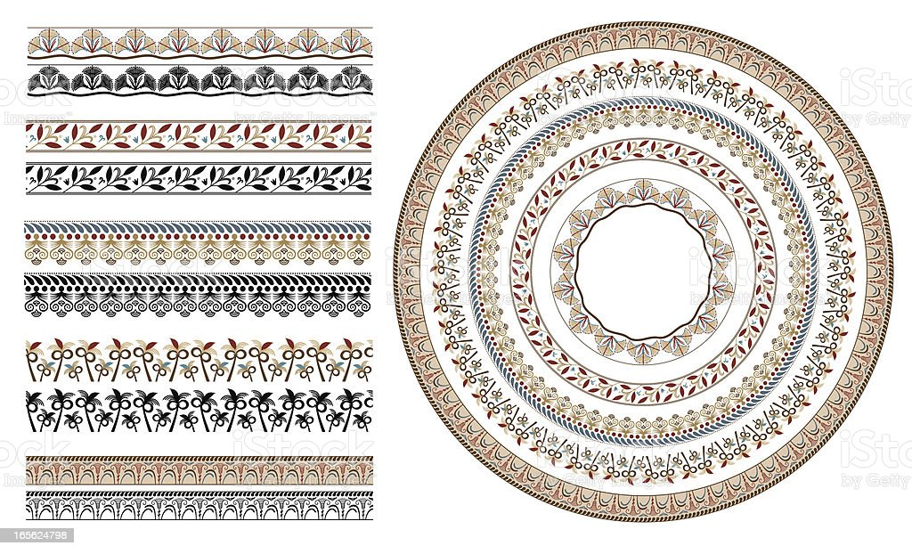 Ancient greek floral seamless patterns vector art illustration