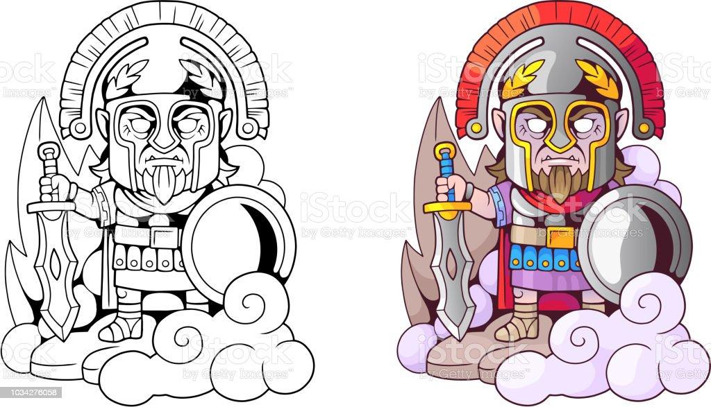 Ilustración de Ares Dios Griego Antiguo Con Espada En Mano ...