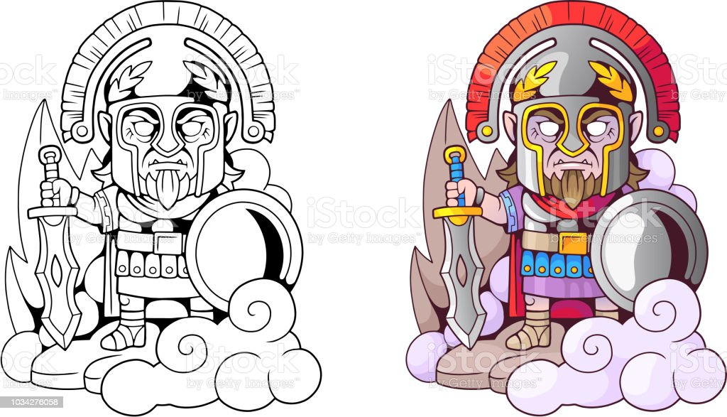 ancient greek god ares with sword in hand, funny illustration coloring book vector art illustration