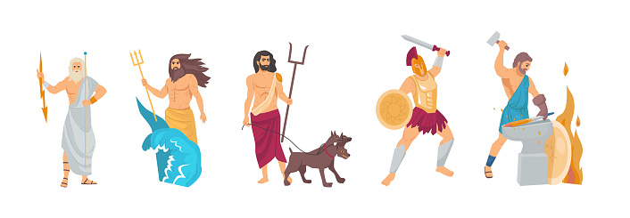 Ancient greek god. Greek God Hades, Hephaestus, Poseidon, Zeus, Ares. Patrons of the underworld, fire and crafts, seas and oceans, war cartoon vector