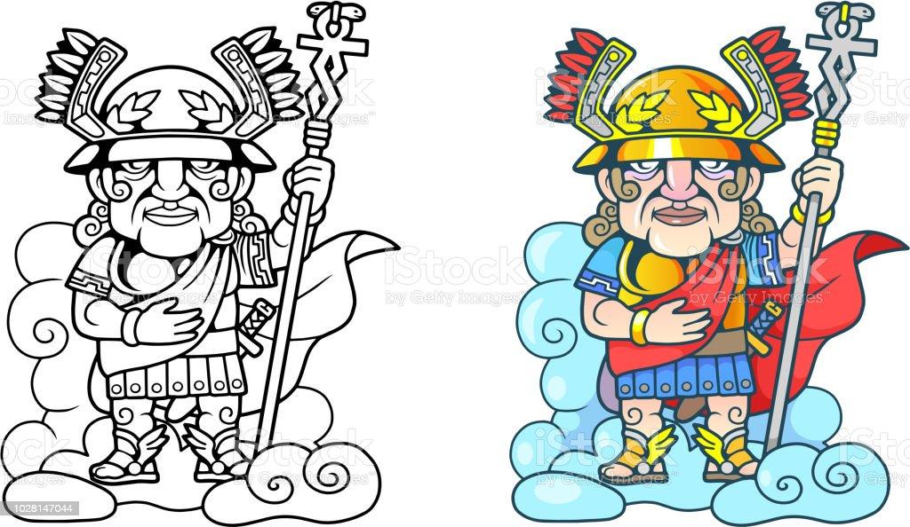 Ilustración de Antiguo Griego Dios Hermes En La Nube Ilustración ...