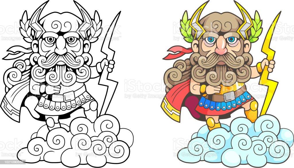 Ilustración de Antiguo Dios Griego Zeus Ilustración Divertida Libro ...