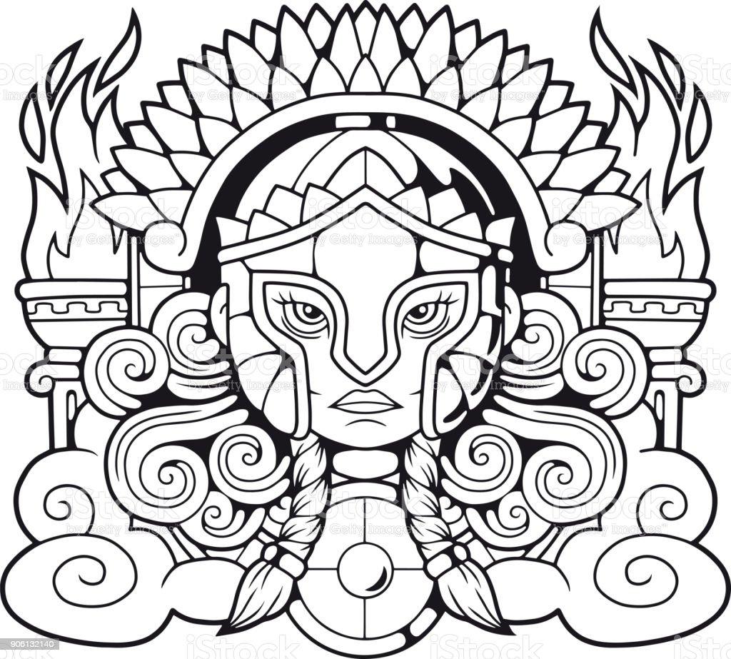 Ancient Greek Goddess Athena Pallas Stock Vector Art More Images