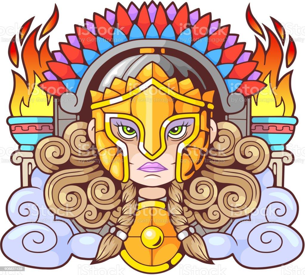 Ancient Greek goddess Athena Pallas vector art illustration