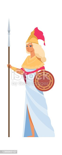 istock Ancient Greek goddess Hera. Cartoon divine woman in white dress and helmet with spear and shield. Vector mythology illustration 1289955107