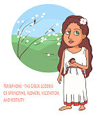 ancient Greek goddess Persephone cartoon
