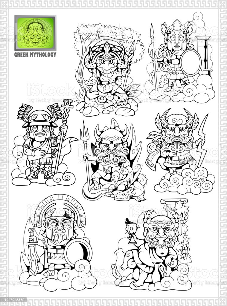 ancient greek gods, set of funny vector illustrations vector art illustration
