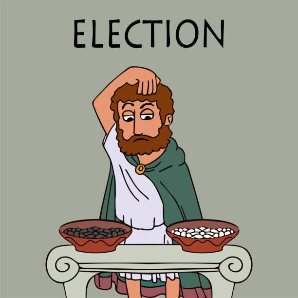 der alte griechische mann wählt, wer wählt - paphos stock-grafiken, -clipart, -cartoons und -symbole