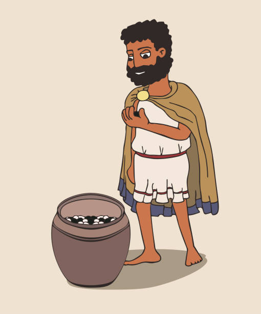 der alte griechische mann wird mit kieselsteinen abstimmen - paphos stock-grafiken, -clipart, -cartoons und -symbole