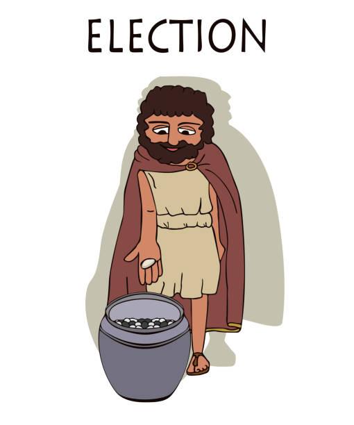 alte griechische mann abstimmung, indem sie kieselsteine in ururn - paphos stock-grafiken, -clipart, -cartoons und -symbole