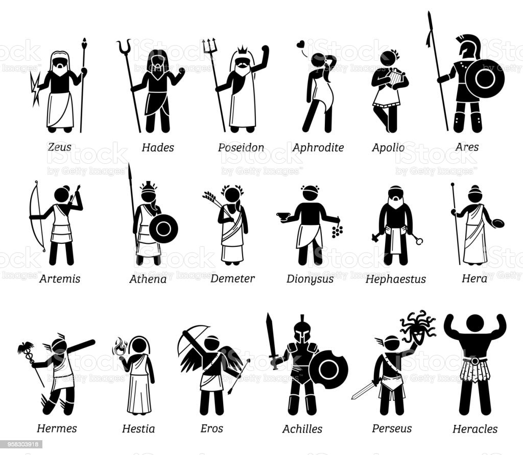 Ancient Greek Mythology Gods and Goddesses Characters Icon Set vector art illustration