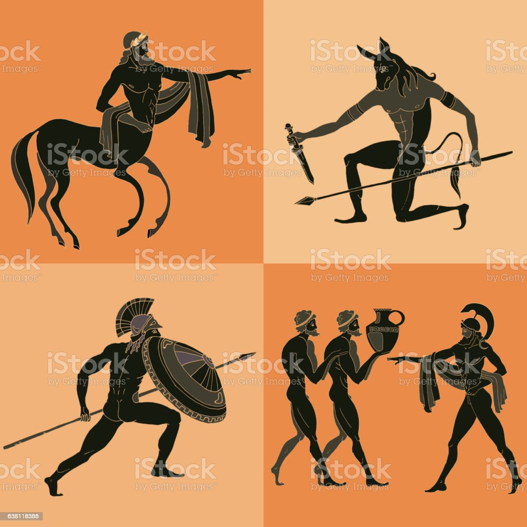 Ancient Greek mythology set. vector art illustration