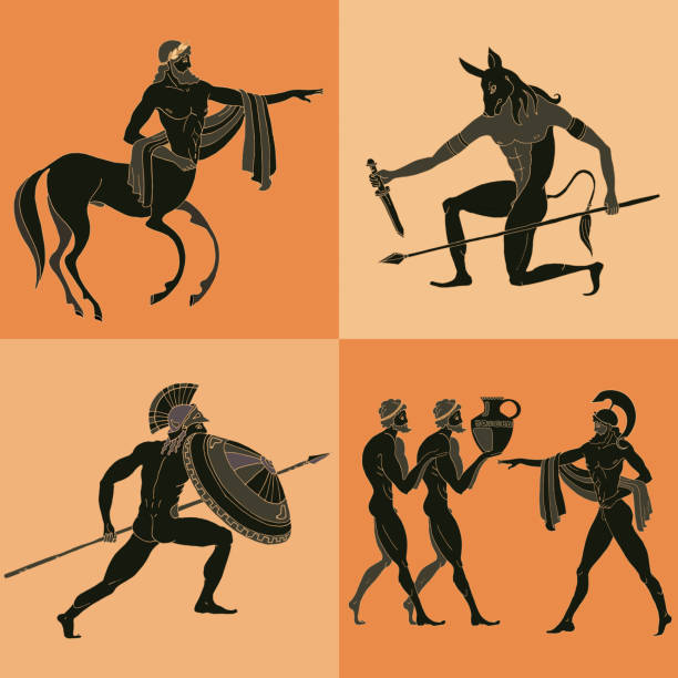 Ancient Greek mythology set. Ancient Greek mythology set. Ancient Greece scene. Black figure pottery. Classical Ancient Greek style. Minotaur, gods, hero, mythology ancient greece stock illustrations