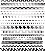 Ancient greek ornament. Vector seamless horizontal borders