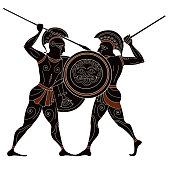 Ancient greek painting.Pottery art.Stylized ancient greek background. Mediterranean culture.