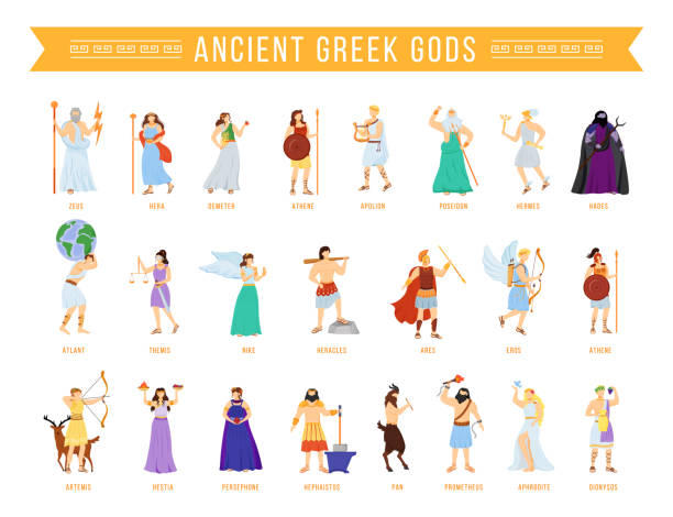 Ancient Greek pantheon gods and goddesses flat vector illustrations set. Titans and heroes. Mythology. Olympian deities. Divine mythological figures. Isolated cartoon characters Ancient Greek pantheon gods and goddesses flat vector illustrations set. Titans and heroes. Mythology. Olympian deities. Divine mythological figures. Isolated cartoon characters artemis stock illustrations