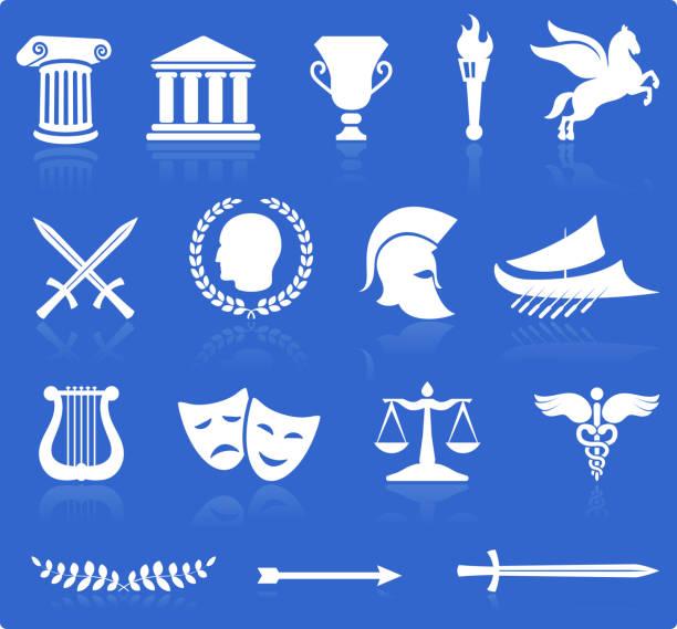 illustrazioni stock, clip art, cartoni animati e icone di tendenza di greco vettoriale illustrazioni royalty-free ritaglio bianco su blu - ancient medical symbol