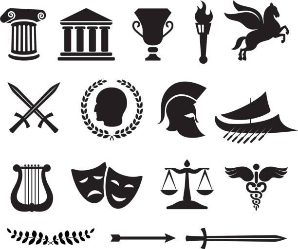 illustrazioni stock, clip art, cartoni animati e icone di tendenza di grecia antica illustrazione vettoriale royalty-free - ancient medical symbol