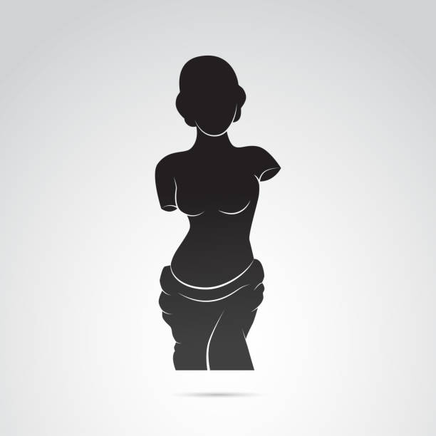 ancient greek sculpture vector icon. - venus stock illustrations