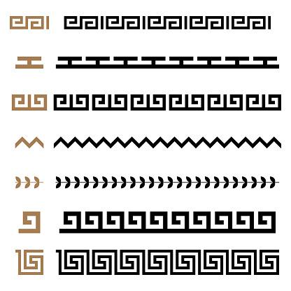Ancient Greek seamless ornament constructor borders frames pattern set