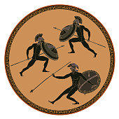 Ancient Greek soldiers. Black figure pottery