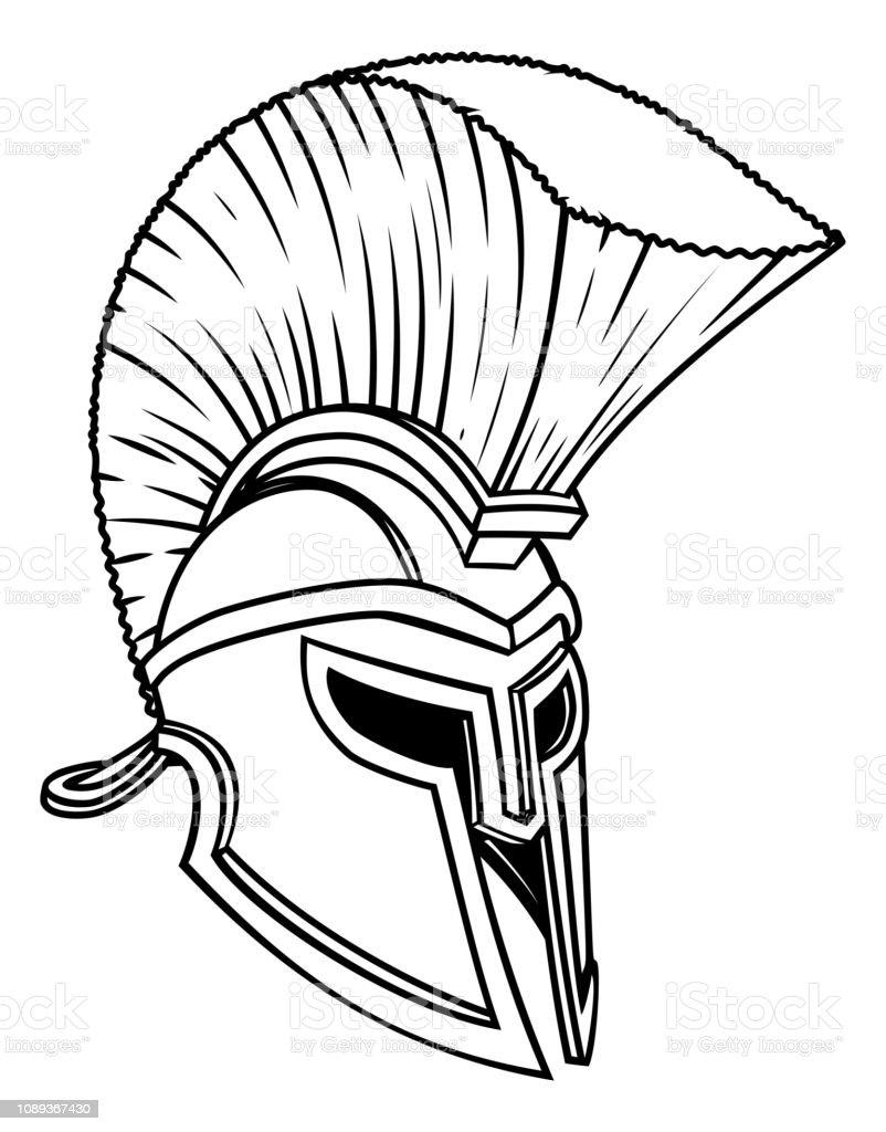Ancient Greek Spartan Helmet vector art illustration