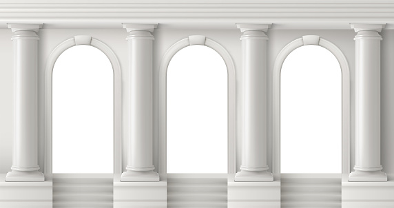 Ancient greek temple with white pillars