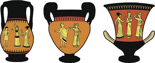 antike griechische vasen und backzubehör drei - paphos stock-grafiken, -clipart, -cartoons und -symbole
