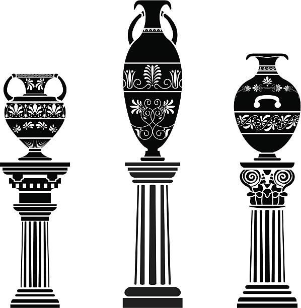 Ancient Greek vase on column Ancient Greek vase on column. stencil set greco roman style stock illustrations