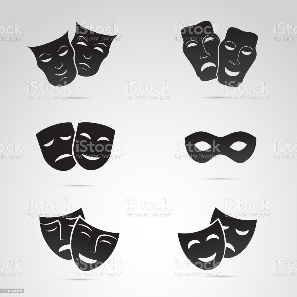 Altgriechisch, Venedig Maske Icon-Set. Vektorgrafiken. – Vektorgrafik
