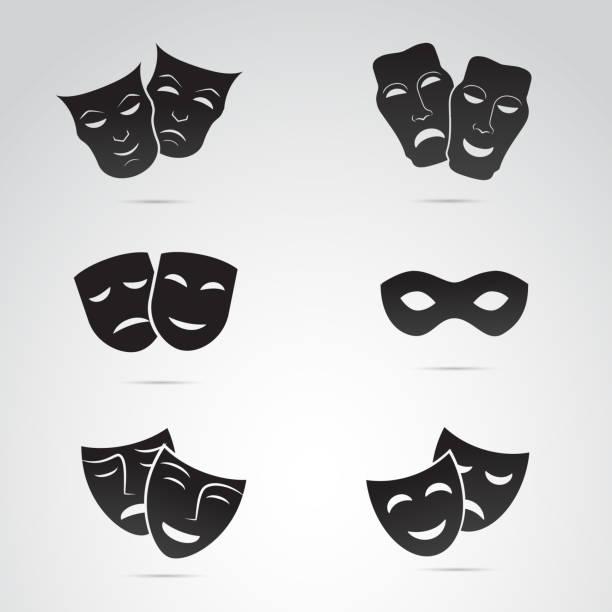 bildbanksillustrationer, clip art samt tecknat material och ikoner med antika grekiska, venedig mask ikonuppsättning. vektor konst. - superhjälte isolated