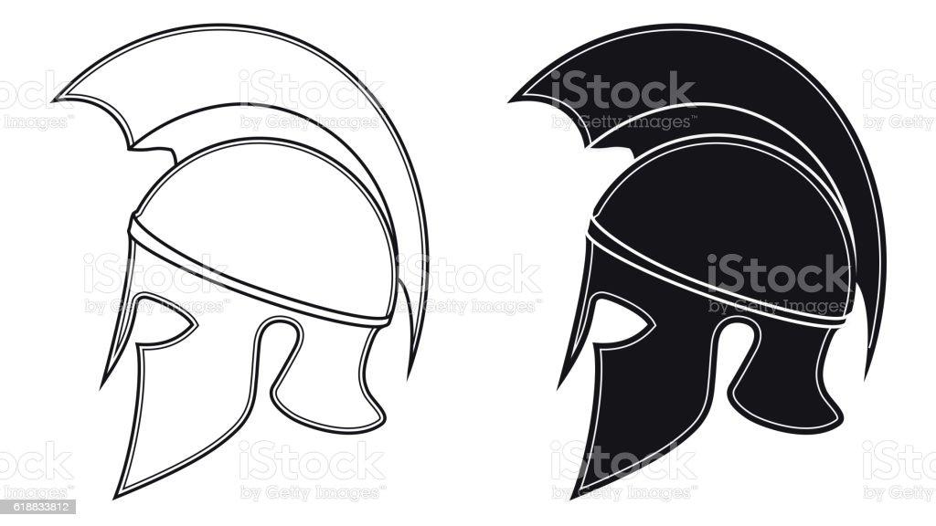 Ancient Greek Warrior Helmet Of A Side Silhouette Stock Vector Art
