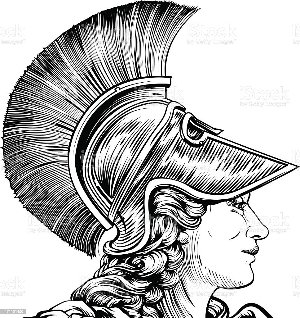 Ancient Greek Warrior Woman vector art illustration