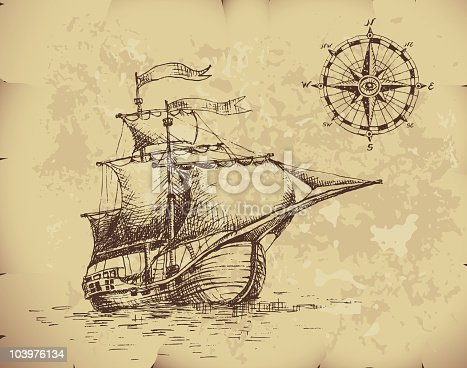 istock Ancient image of caravel with compass on top corner 103976134