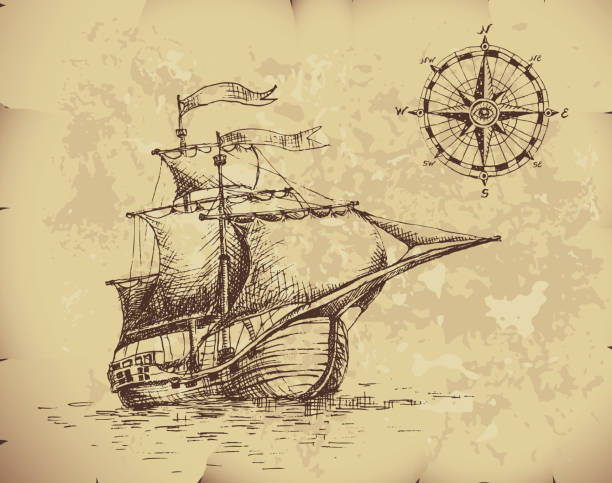 bildbanksillustrationer, clip art samt tecknat material och ikoner med ancient image of caravel with compass on top corner - ship