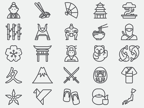 Ancient Japan Line Icons