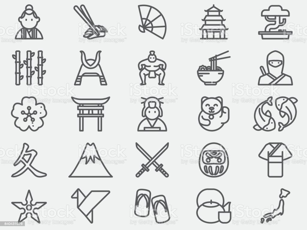 Ancient Japan Line Icons vector art illustration