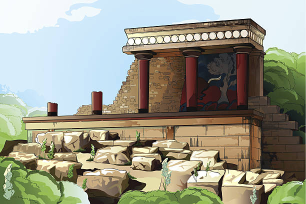 Ancient Knossos Palace. vector art illustration