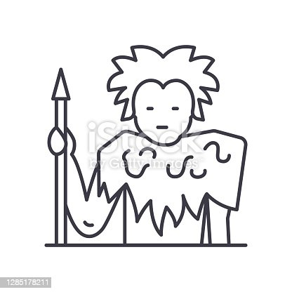 Ancient man icon, thin line isolated illustration, linear vector web design sign, outline concept symbol with editable stroke on white background.