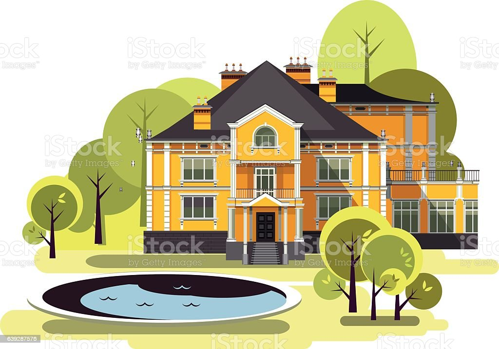 ancient manor vector vector art illustration
